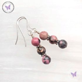 Rhodonite Triple Bead Earrings
